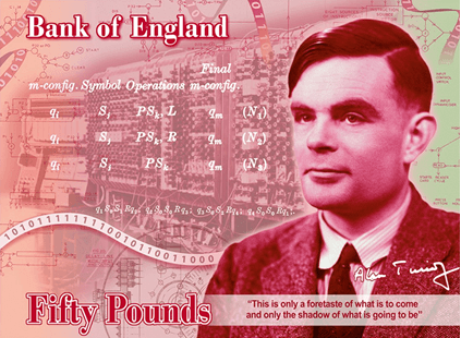 Alan Turing on the new £50 banknote